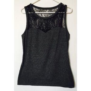 Express sheer short sleeve black blend top size L